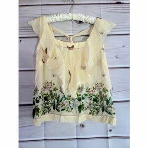 Leifsdottir 100% silk floral cream tie blouse 4